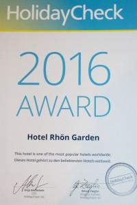 HolidayCheck-Award Urkunde für das Rhön-Garden