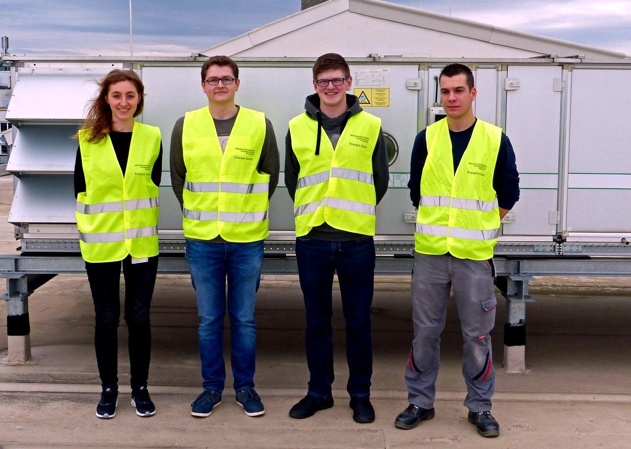 Das JUMO EnergieScout Team von links: Anja Baumruck, Lukas Wagner, Sebastian Fischer und Christian Köhler
