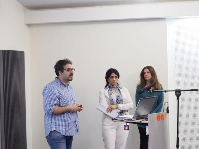 International: Patrizia Bortolotto, Marve Bazargani und Humam Samim (von rechts) zeigten anhand der Beispiele Iran und Italien die internationale Vernetzung von Gründern