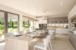 Esszimmer und Küche im Musterhaus Ancona