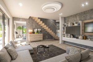 Die geradläufige Geschosstreppe verbindet auf elegante Weise die Bereiche Wohnen und Schlafen