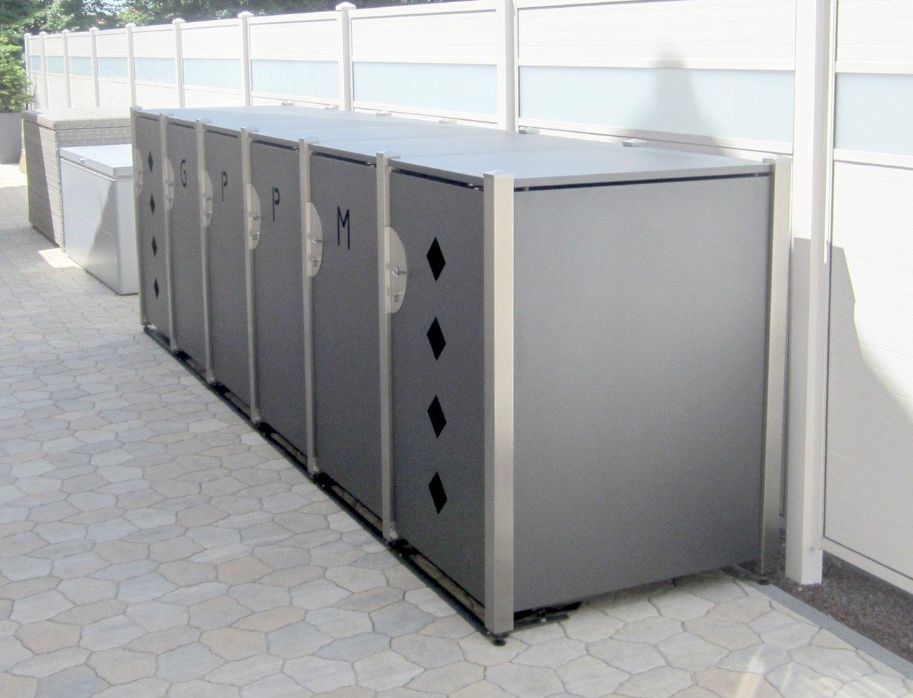 Eine Mülltonnenbox-Anlage, wie sie die HALA GmbH aufbaut