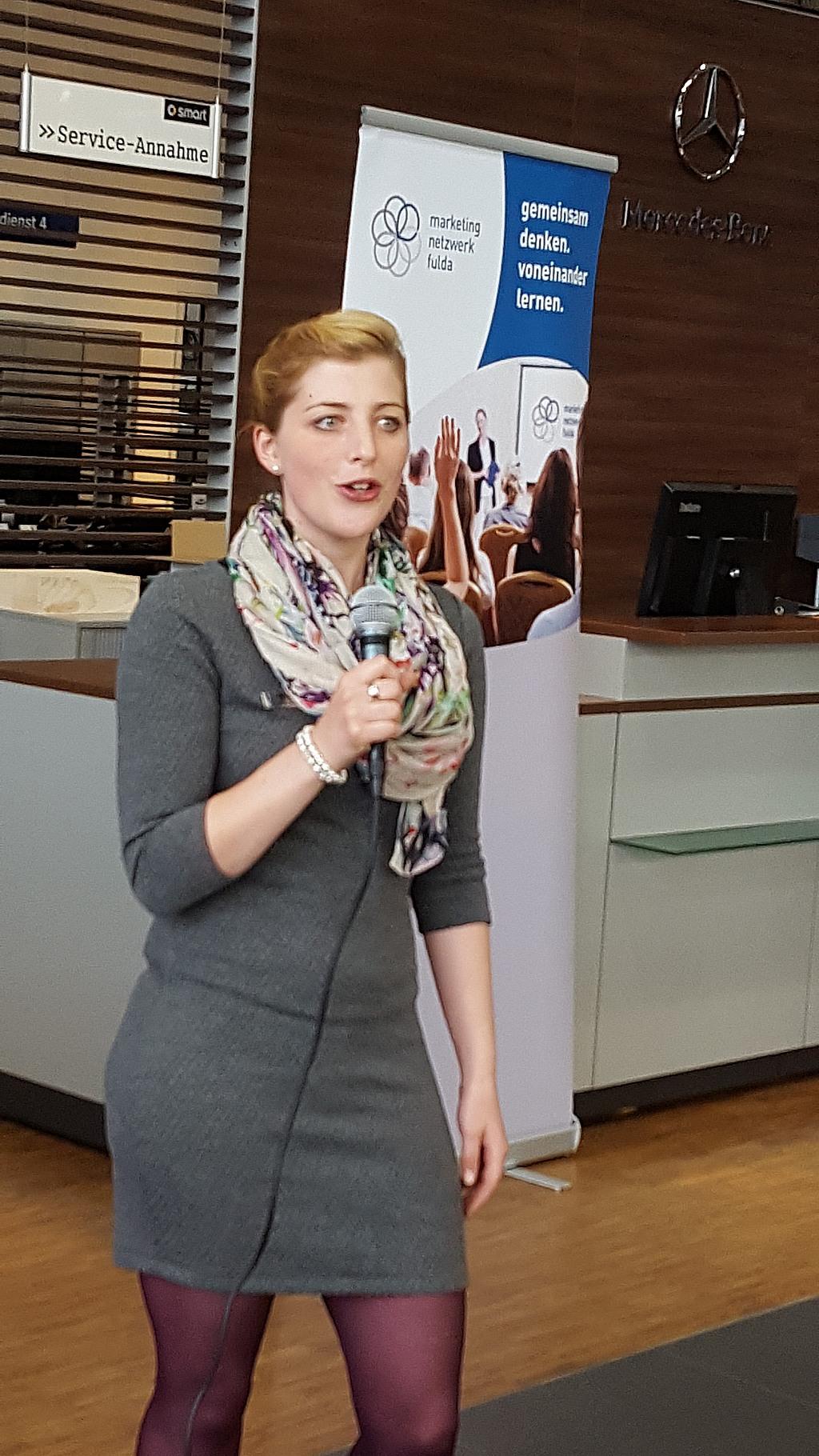 Yasmin Wohlerdt zuständig für das Handelsmarketing bei Mercedes Kunzmann in Fulda begrüßte die Mitglieder des Marketing-Netzwerks