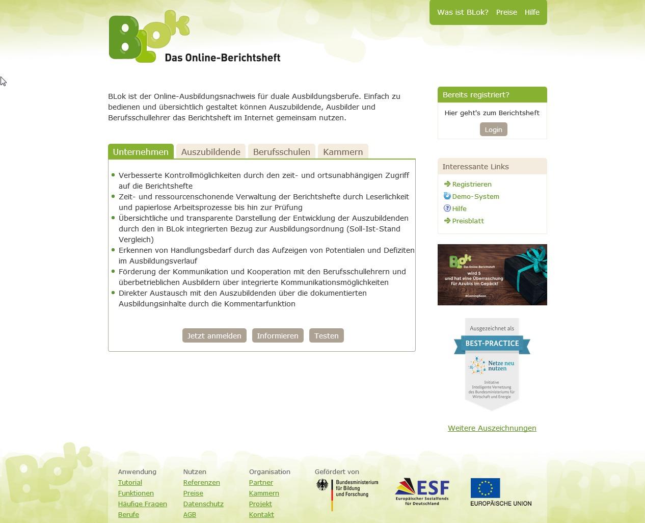 Online-Berichtsheft Blok für Auszubildende