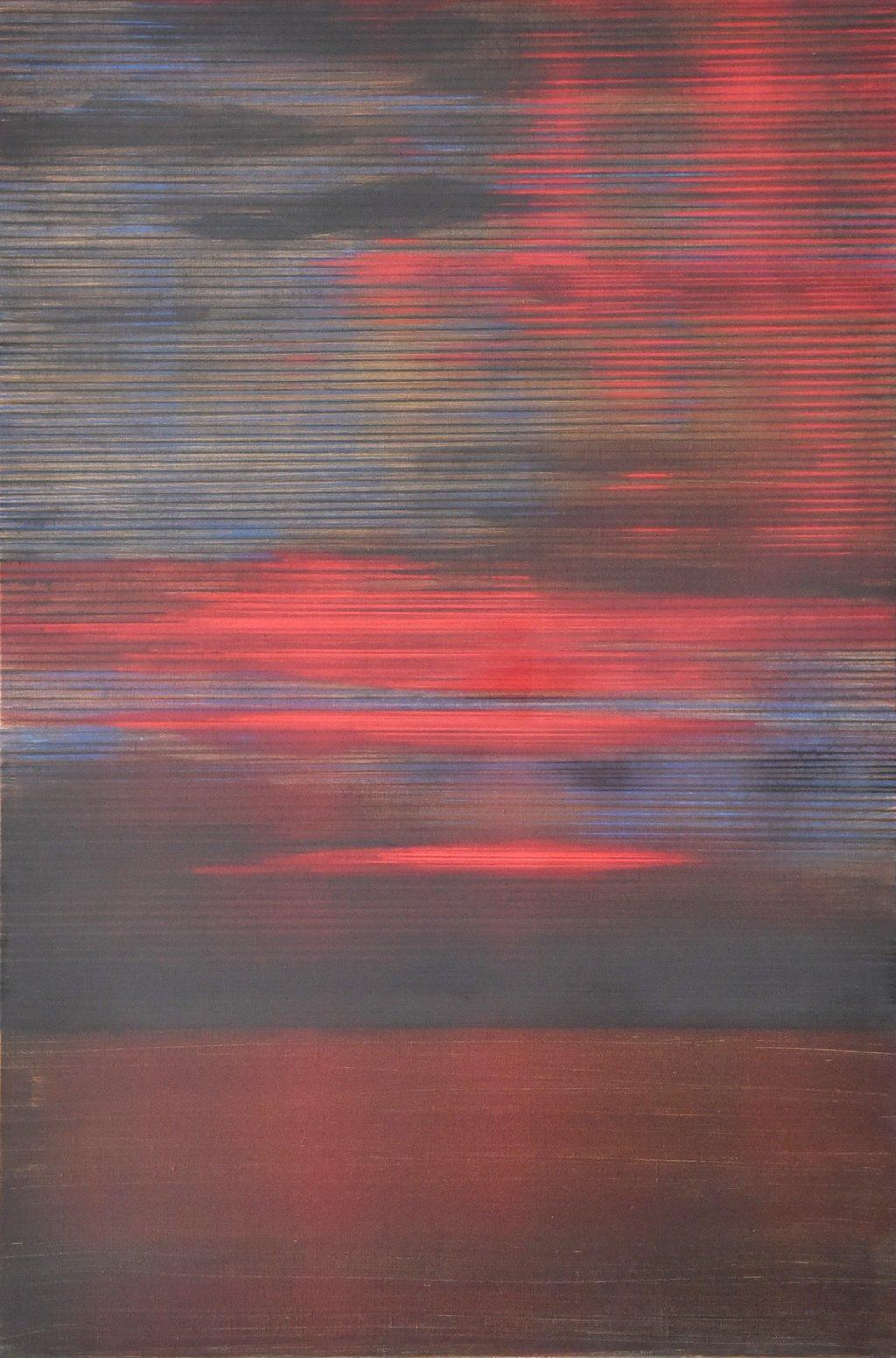 "Peter Lang: ""Rote Zirren"", 2016, 120 x 80 cm, Öl auf Leinwand; Foto: © Peter Lang"